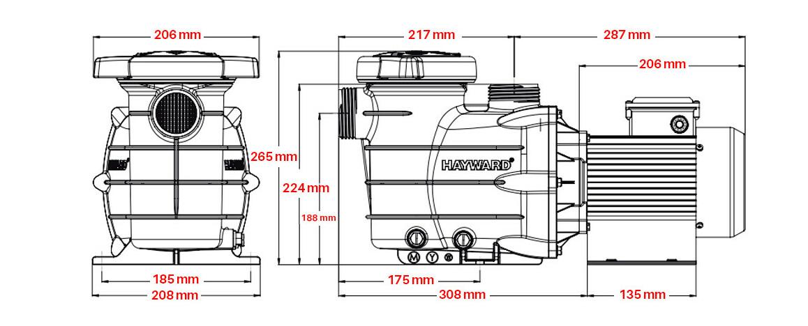 dimensions de la pompe de filtration hayward powerline