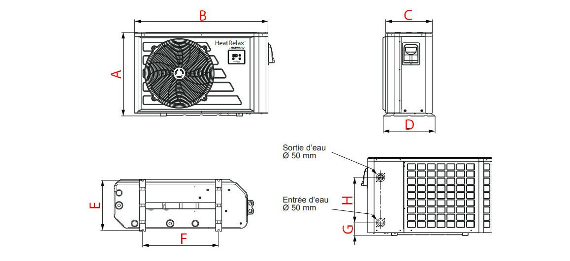 schéma des dimensions de la pompe à chaleur Hayward Heat Relax