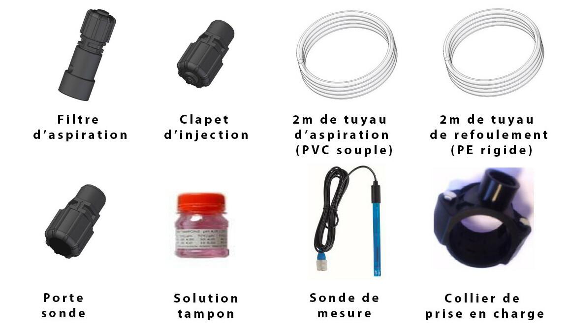 composition du kit inclus avec le régulateur de pH Pool pH HAYWARD