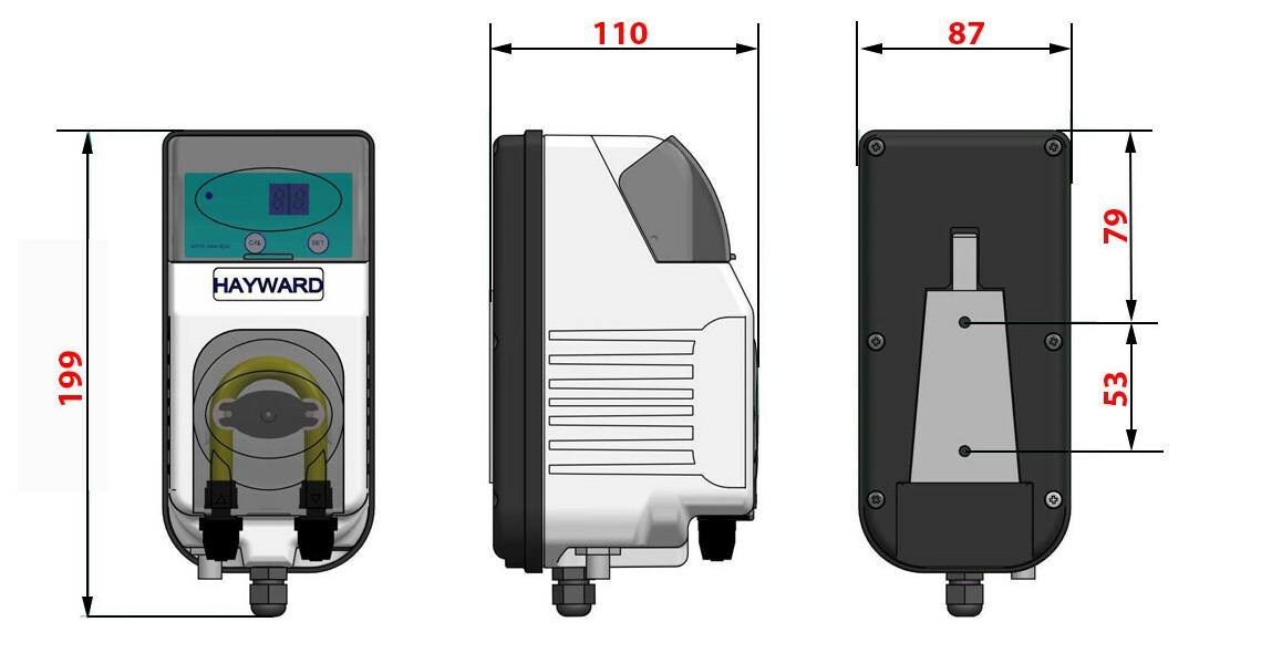 dimensions du régulateur de pH Pool pH Hayward