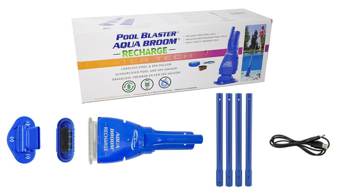 contenu de l'aspirateur de piscine aquabroom pool blaster rechargeable