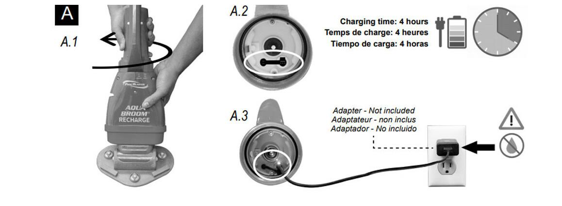 recharge de la batterie e lithium de l'aspirateur de piscine aquabroom poolblaster