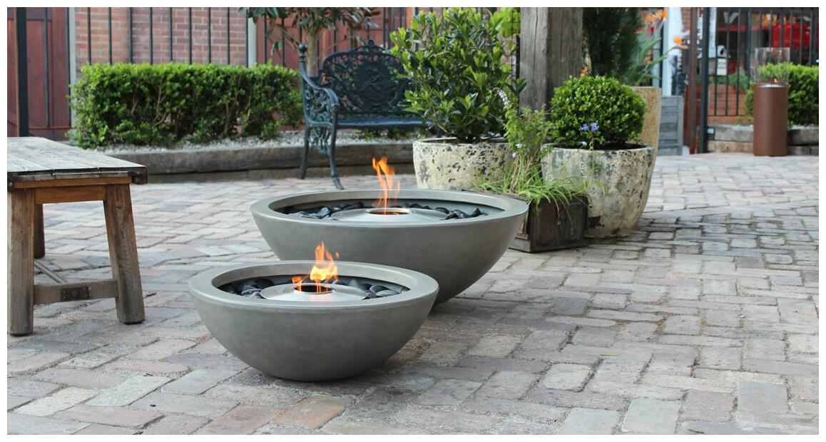 brasero à l'éthanol Ecosmart Fire série mix 600 et mix 850 en situation