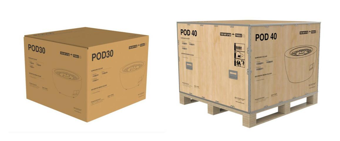 emballage des tables extérieures avec brasero ecosmart fire série pod