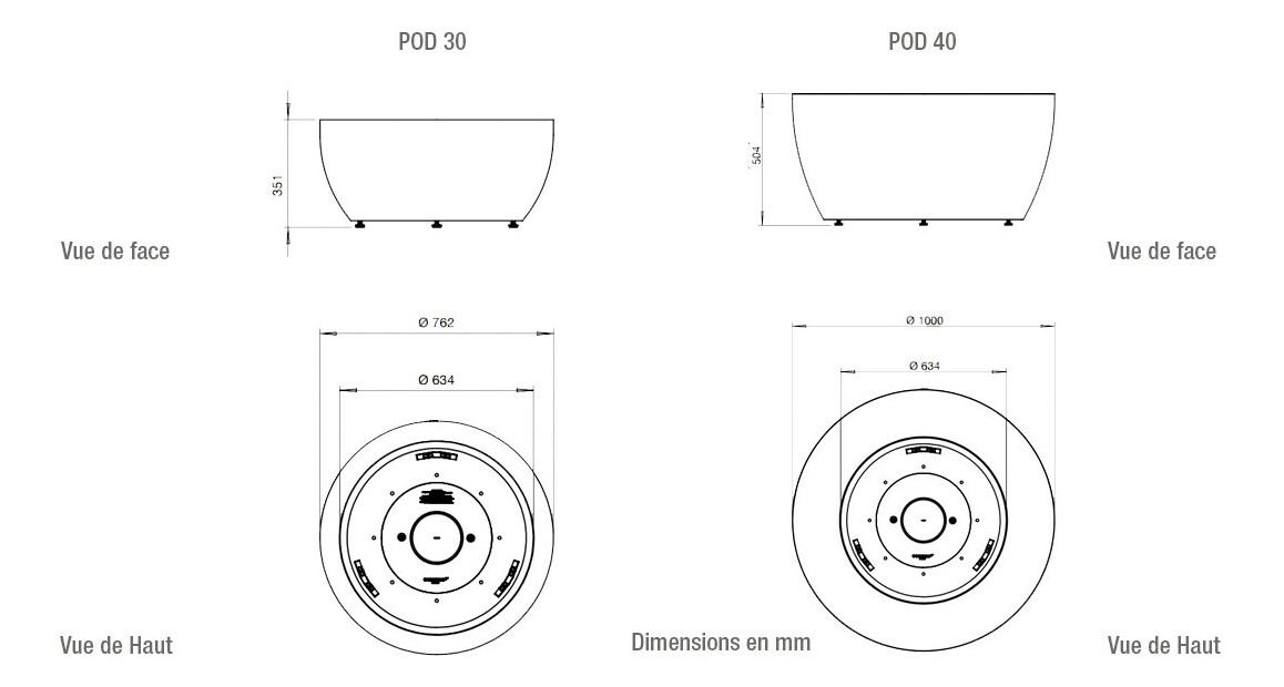 dimensions du brasero extérieur à l'éthanol ecosmart fire série pod