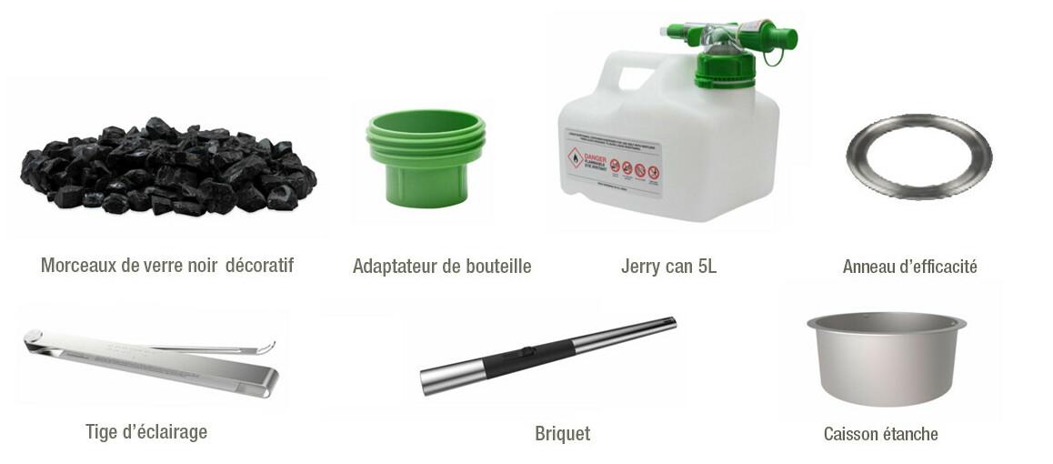 accessoires inclus avec la cheminée à l'étahnol Ecosmart fire