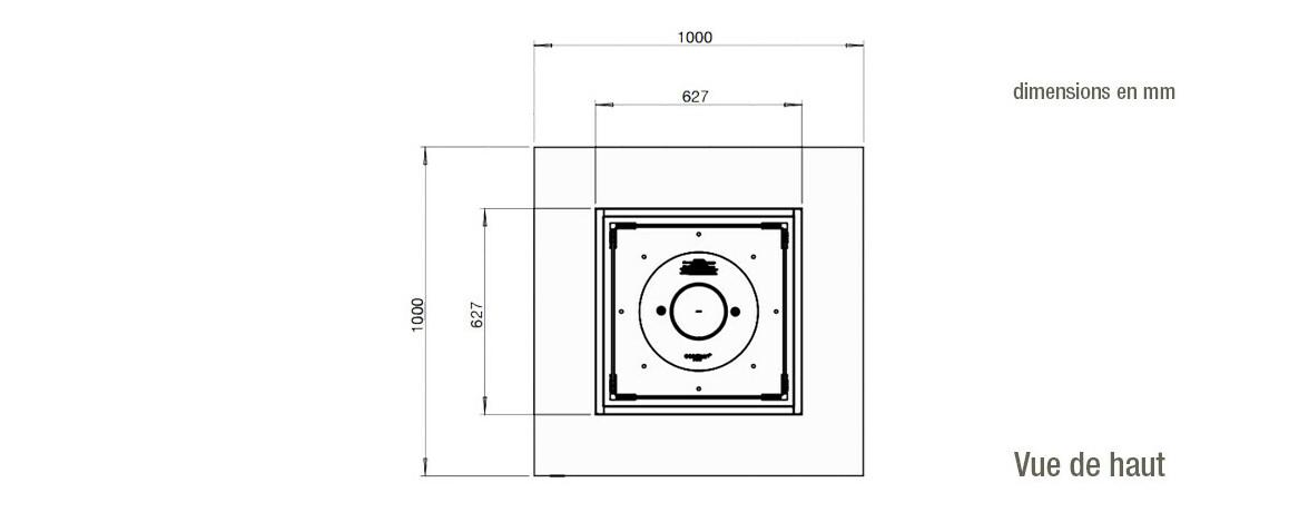 dimensions vue de haut de la cheminée à l'étahnol ecosmart fire base 40