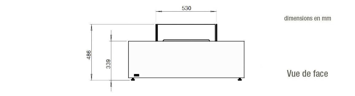 dimensions vue de face de la table de feu Base 40 ecosmart fire