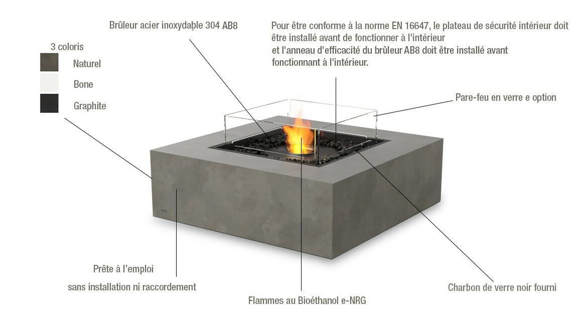 descriptif de la cheminée à l'éthonal Ecosmart fire Base 40
