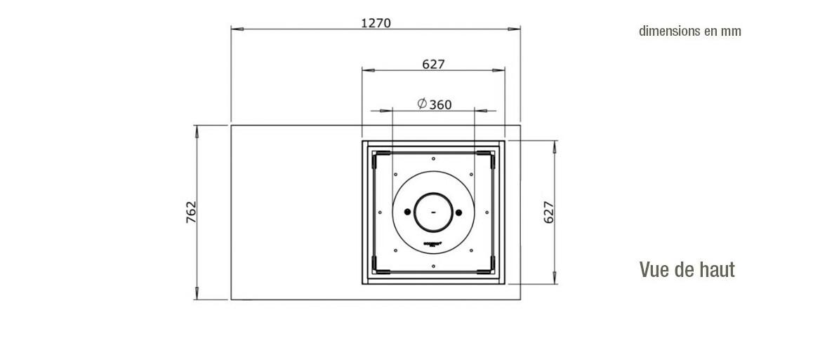 dimensions vue de haut de la cheminée à l'étahnol ecosmart fire manhattan50