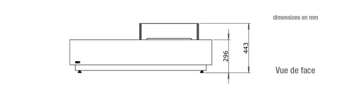 dimensions vue de face de la table de feu Manhattan 50 ecosmart fire