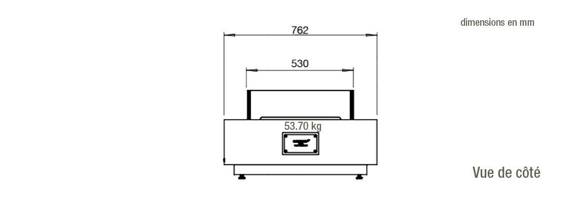 dimensions vue de côté de la table de feu manhattan 50 ecosmart fire