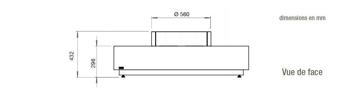 dimensions vue de haut de la cheminée à l'étahnol ecosmart fire martini 50