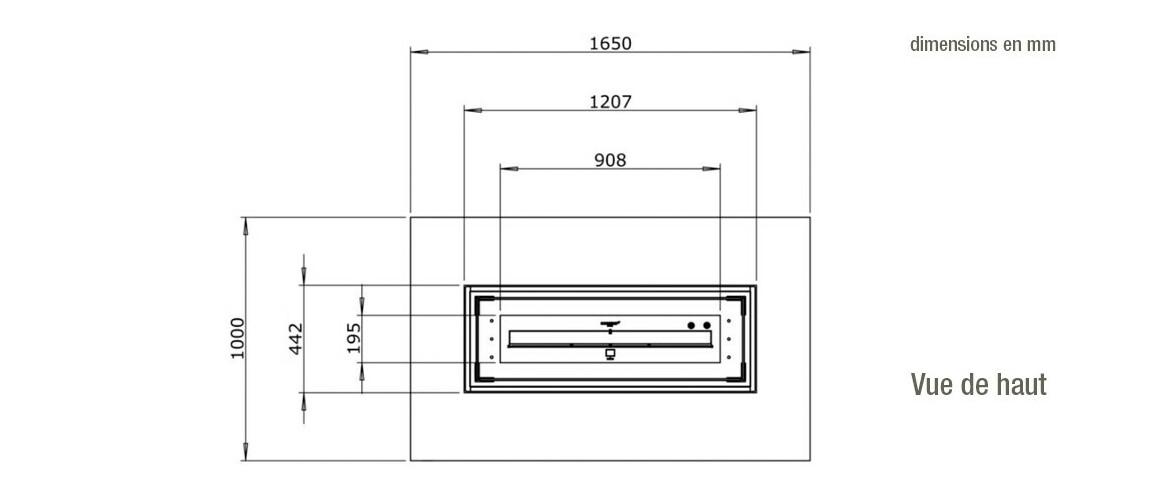 dimensions vue de haut de la table de feu wharf 65 ecosmart fire