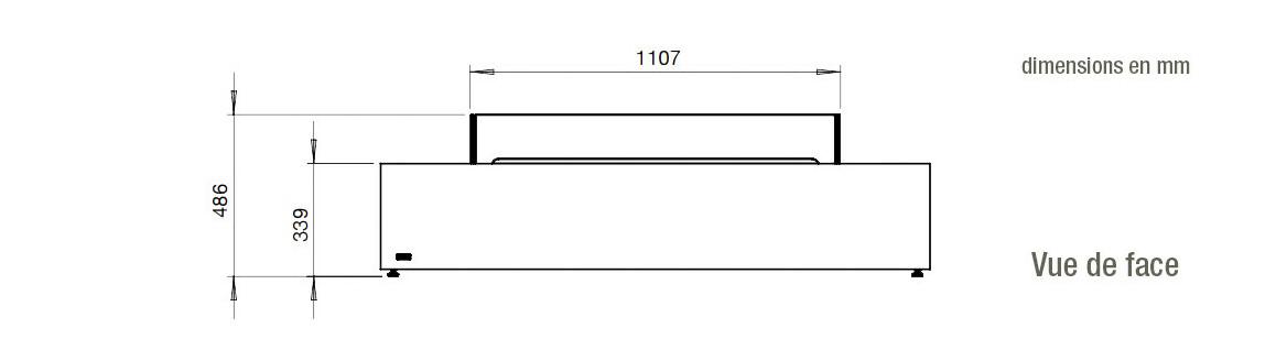 dimensions vue de face de la table de feu wharf 65 ecosmart fire