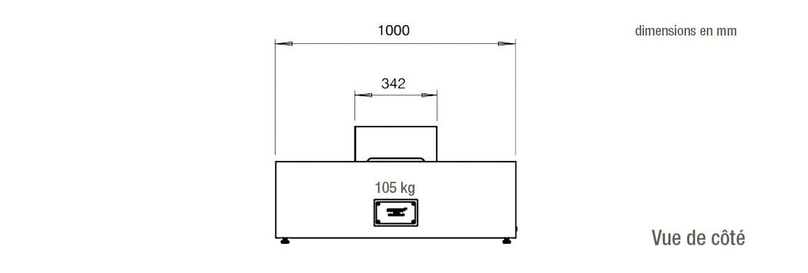 dimensions vue de côté de la table de feu wharf 65 ecosmart fire