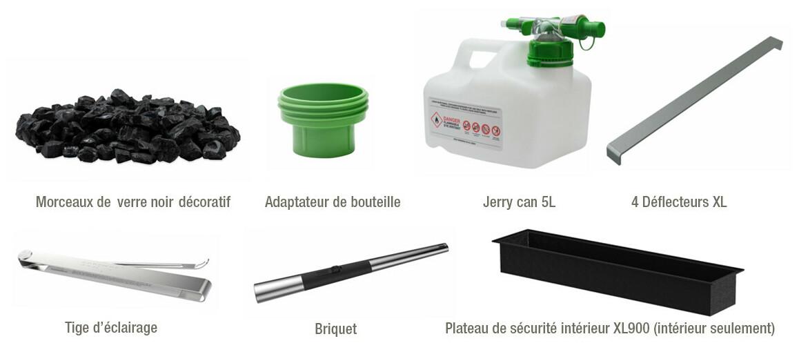 accessoires inclus avec la cheminée à l'éthanol ecosmart fire wharf 65