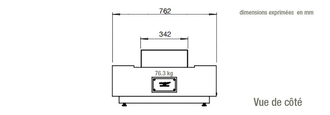 dimensions de côté de la table de feu Cosmo 50 ecosmart fire