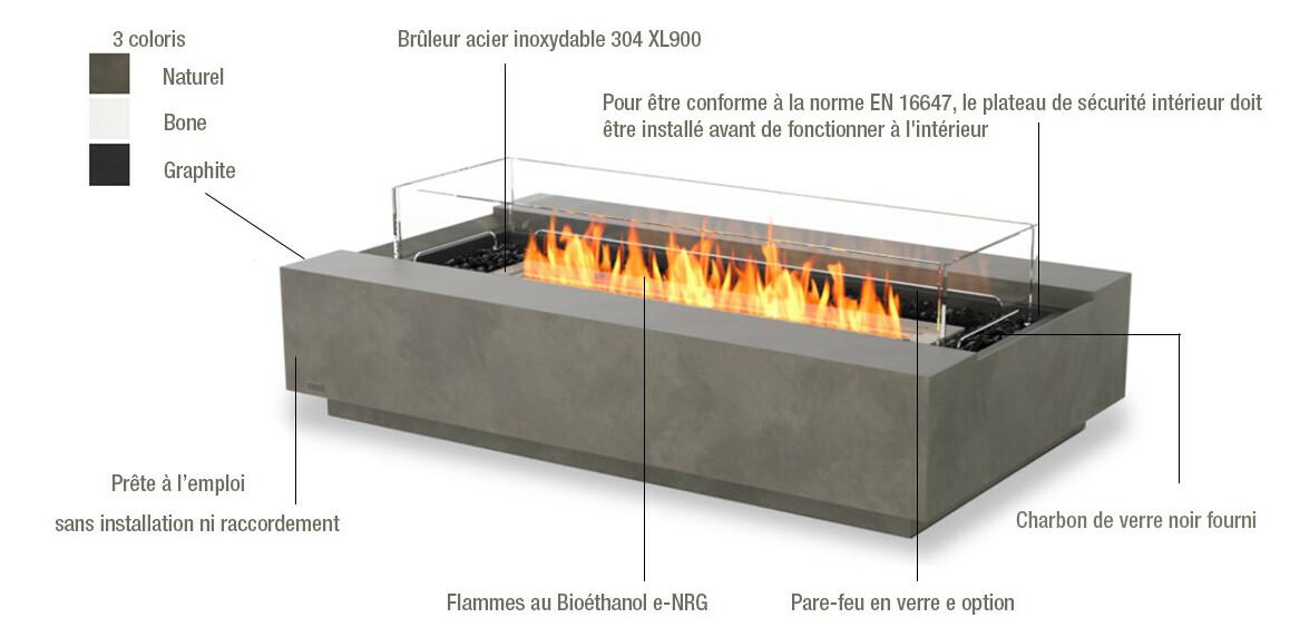descriptif de la cheminée extérieure cosmo 50 ecosmart fire