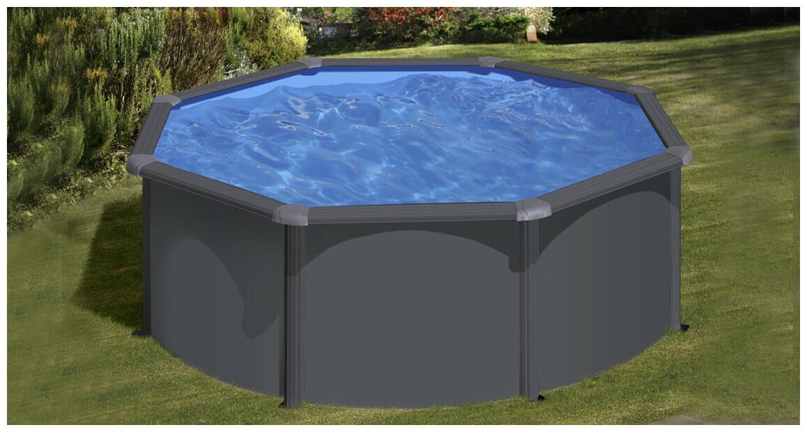 piscine hors sol en acier aspect graphite en situation