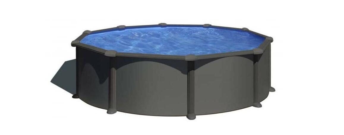 installation de la piscine hors sol en acier aspect graphite gre