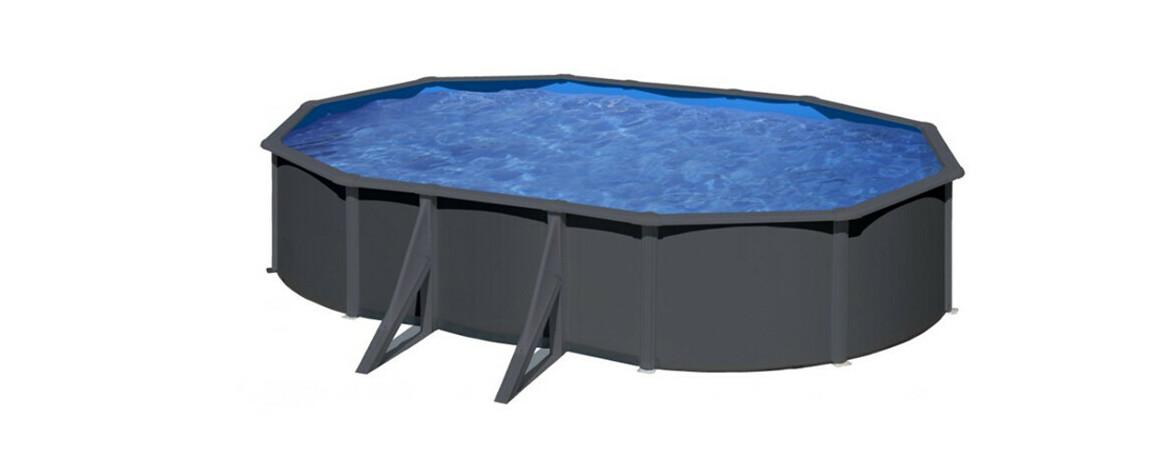 installation de la piscine hors sol en acier aspect gre ovale