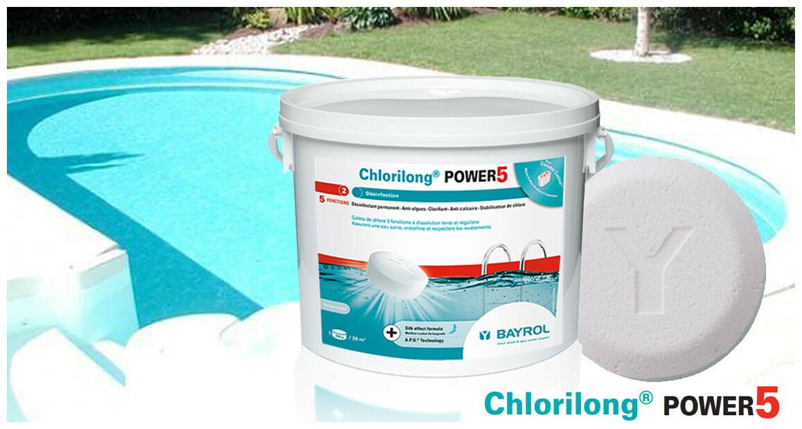 galet de chlore Bayrol Chlorilong power 5 en situation