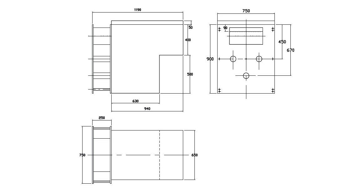 plan de côté du mur filtrant miroir gs14 filtrinov