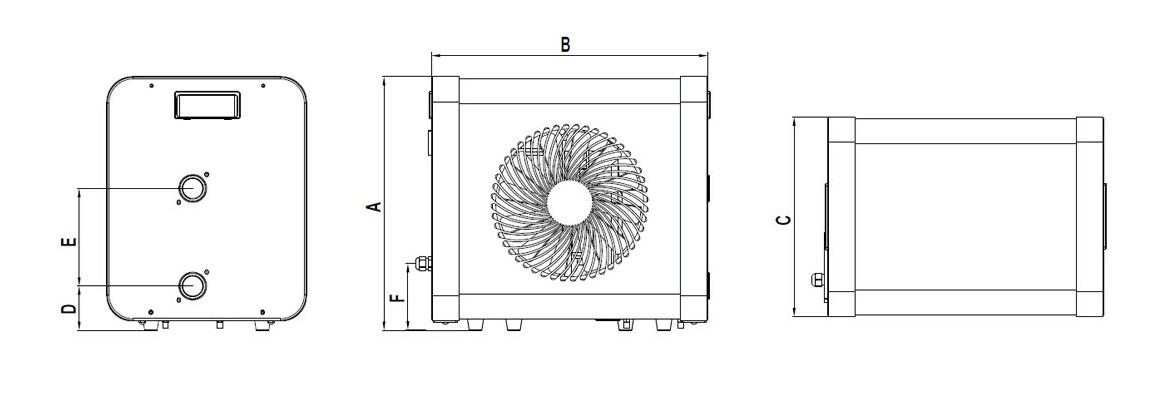 schéma des dimensions de la pompe à chaleur Poolex Jetblack mini