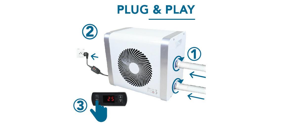 plug and play pompe à chaleur jetblack mini poolex