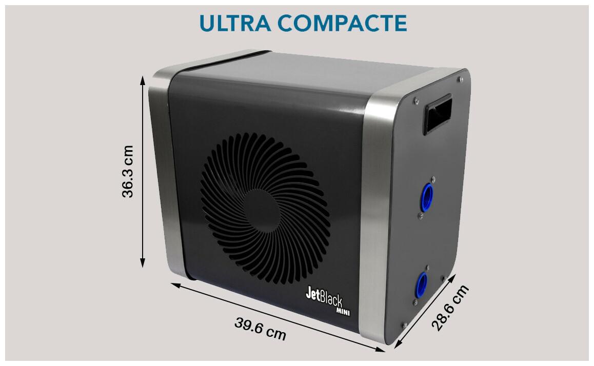 dimensions compactes de la pompe à chaleur Jetblack Mini