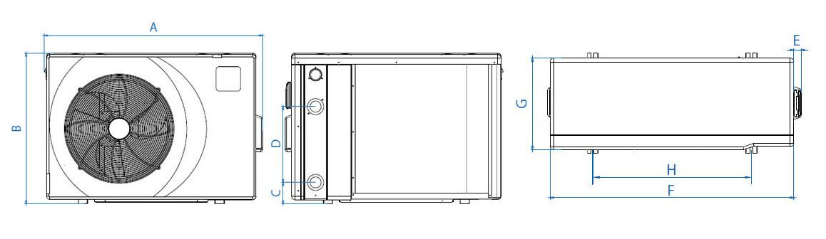 schéma des dimensions de la pompe à chaleur piscine poolex Jetblack FI