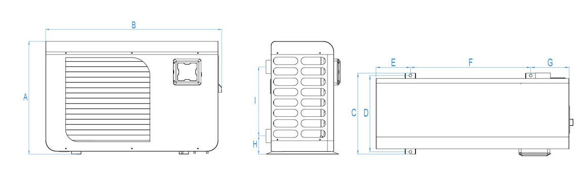 schéma des dimensions de la pompe à chaleur Poolex Jetblack