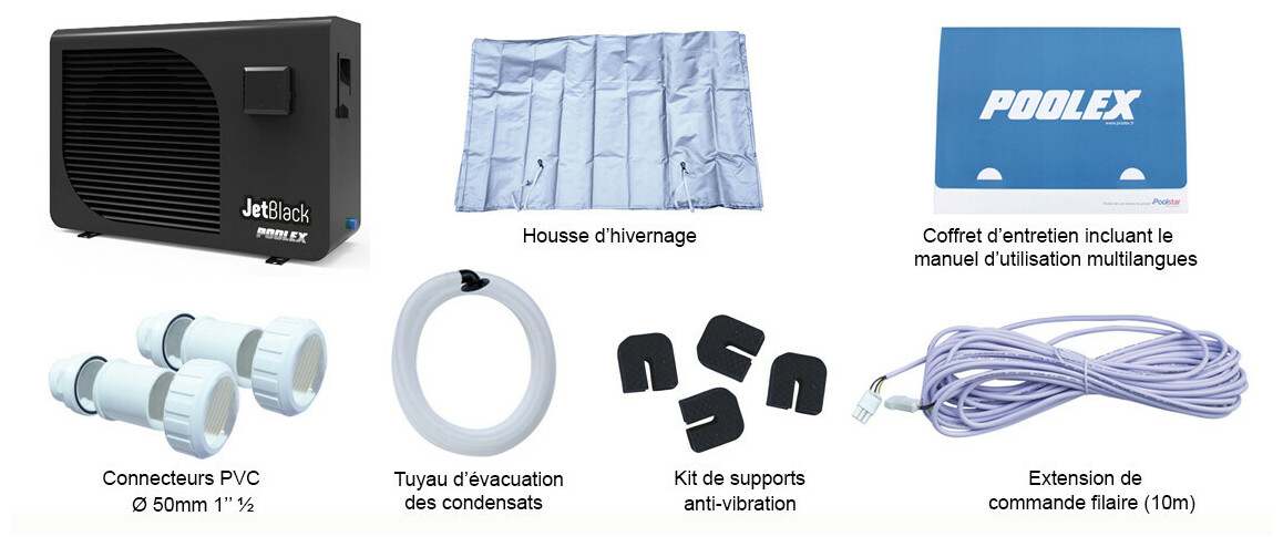 accessoires fournis avec la pompe à chaleur jetblack