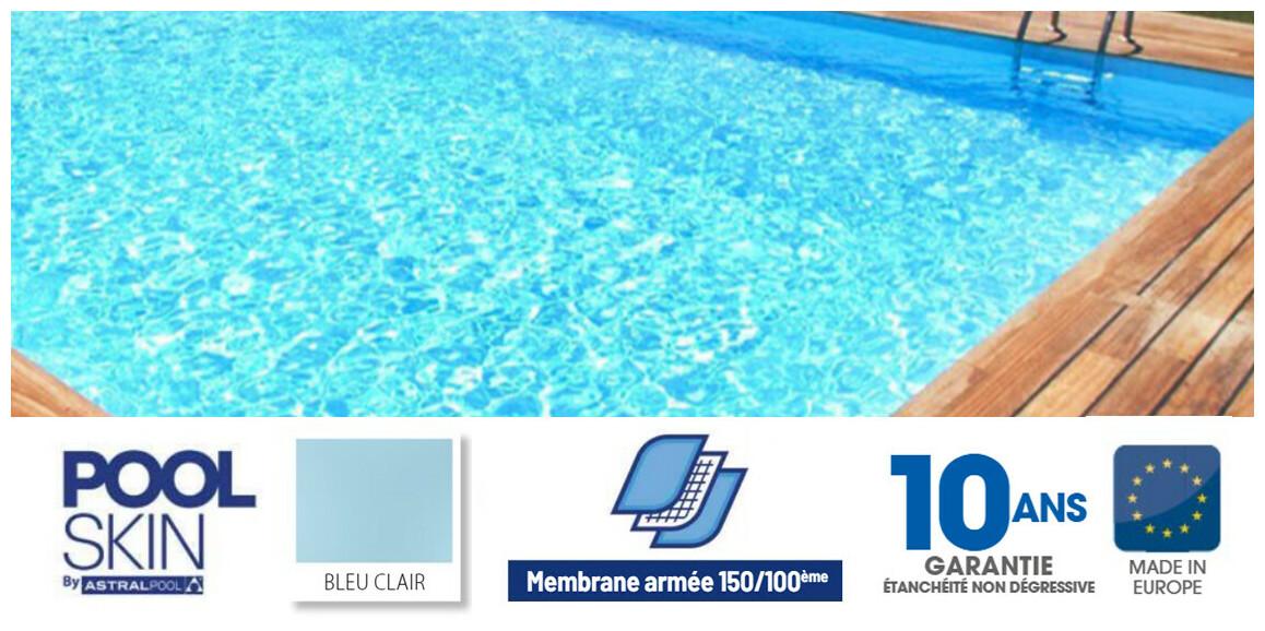 liner pvc armé 150 ème pour piscine poolskin astral pool bleu clair