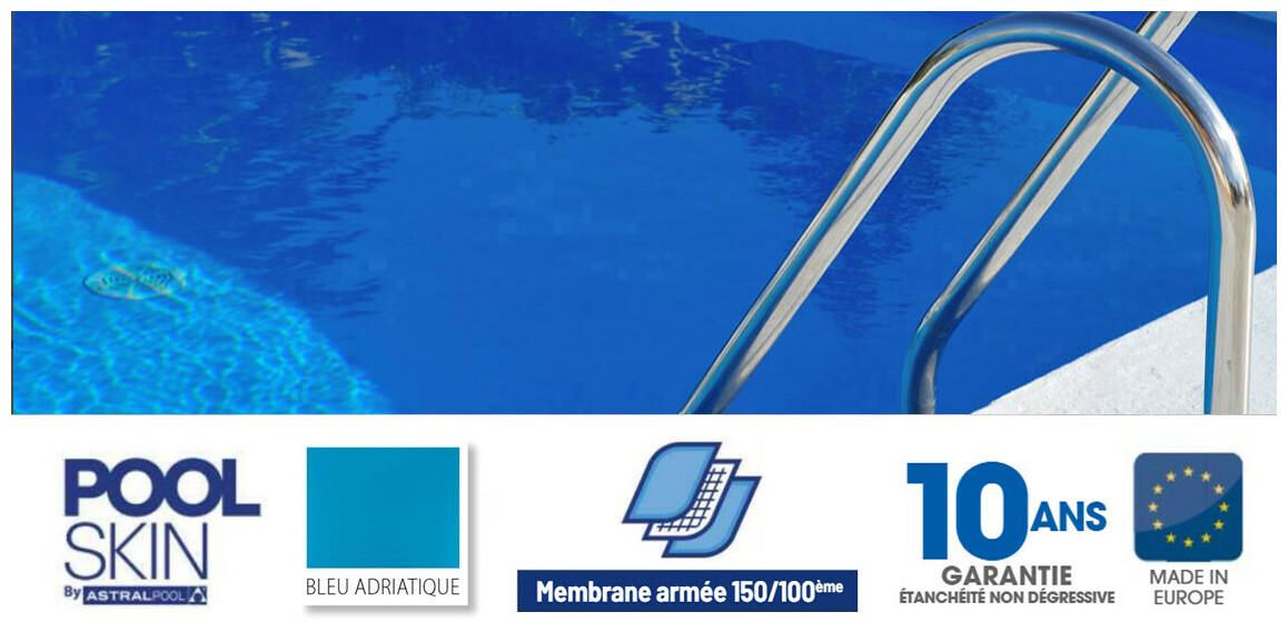 liner pvc armé 150 ème pour piscine poolskin astral pool bleu adriatique