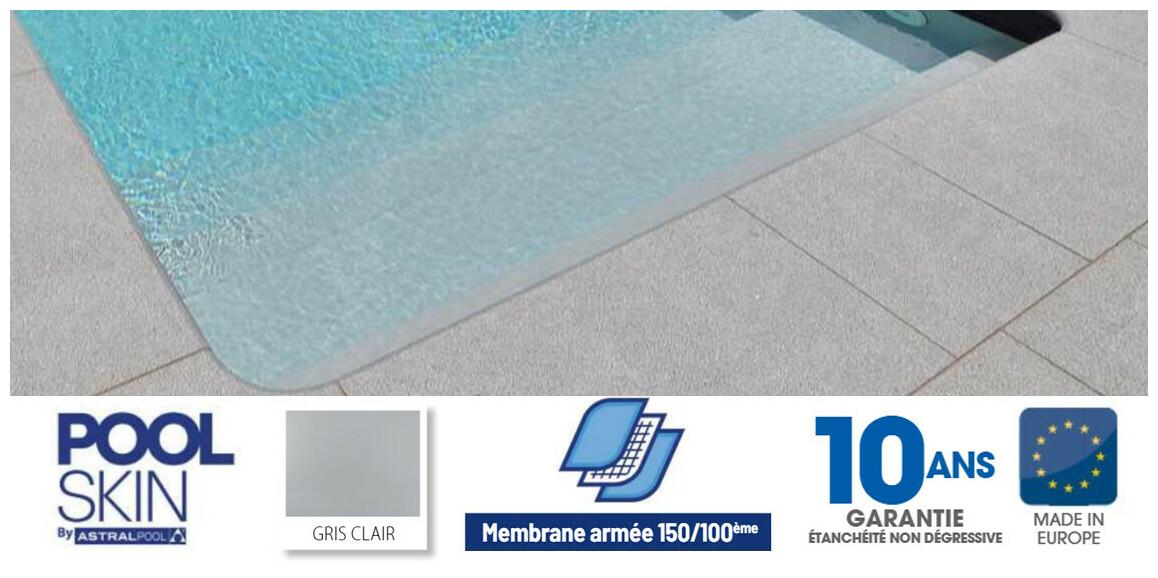 liner pvc armé 150 ème pour piscine poolskin astral pool gris clair