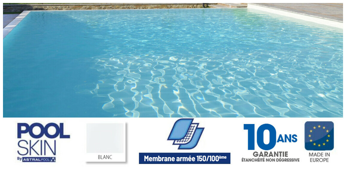 Liner PVC armé 150/100 ème Pool Skin Blanc en situation