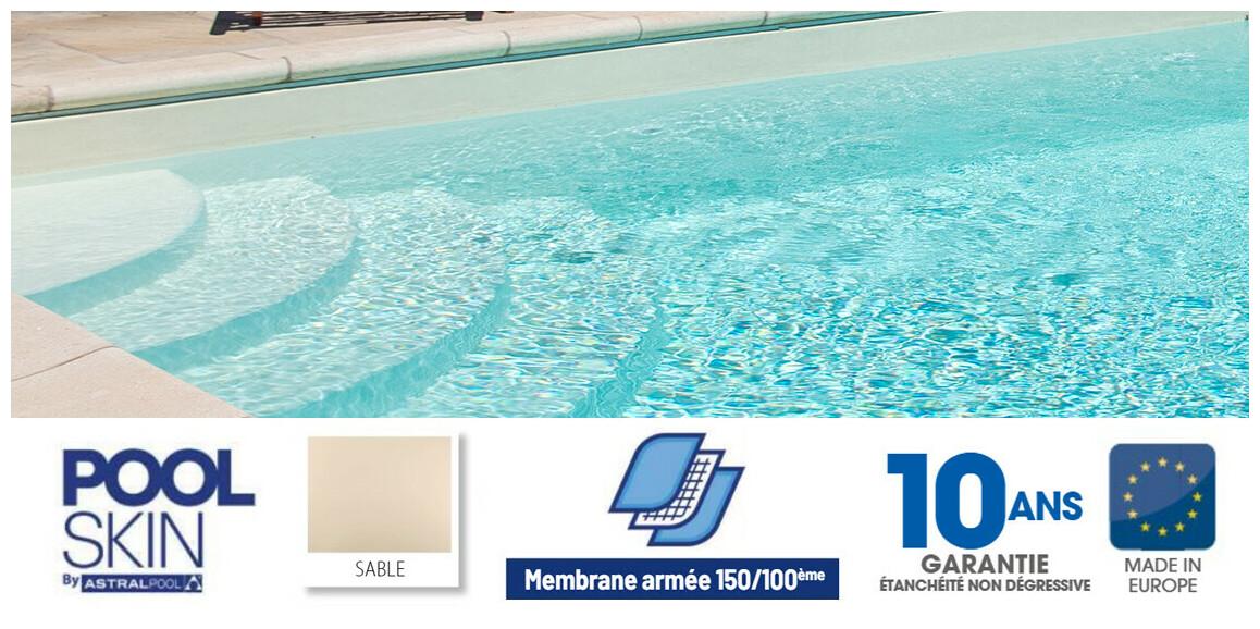 liner pvc armé 150/100 ème Poolskin sable