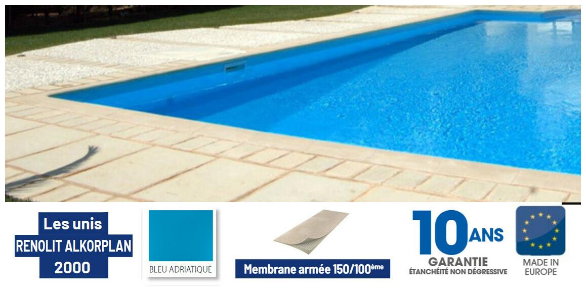 pvc armé 150/100 ème renolit alkorplan bleu adriatique