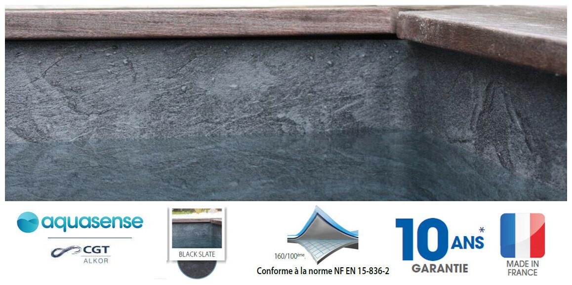 liner armé 160/100 ème imprimé Aquasense black slate