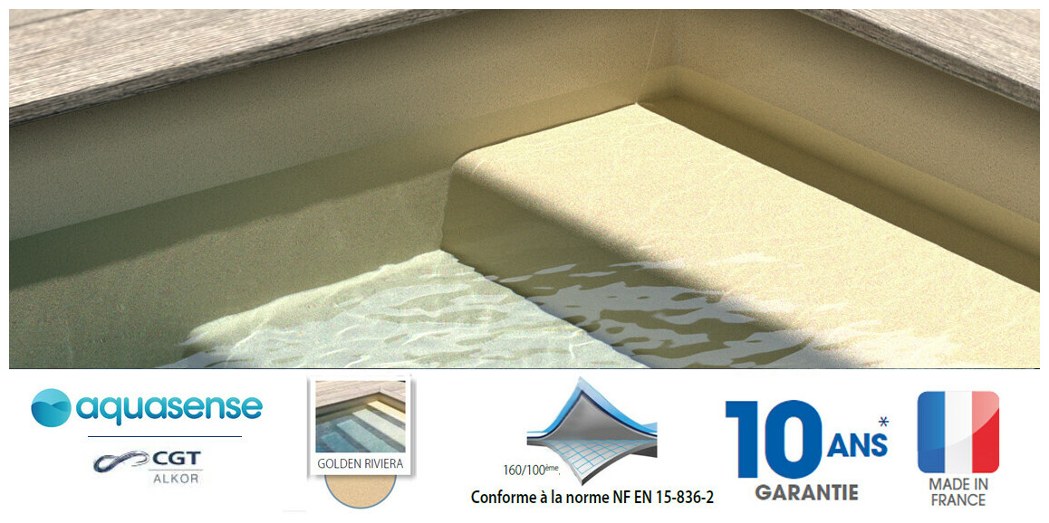liner armé 160/100 ème imprimé Aquasense golden riviera