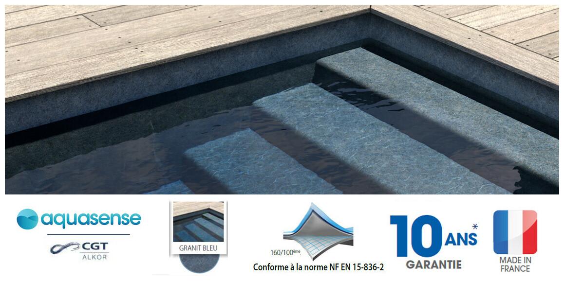 Liner pvc armé Aquasense 160/100 ème granit bleu pour piscine enterrée