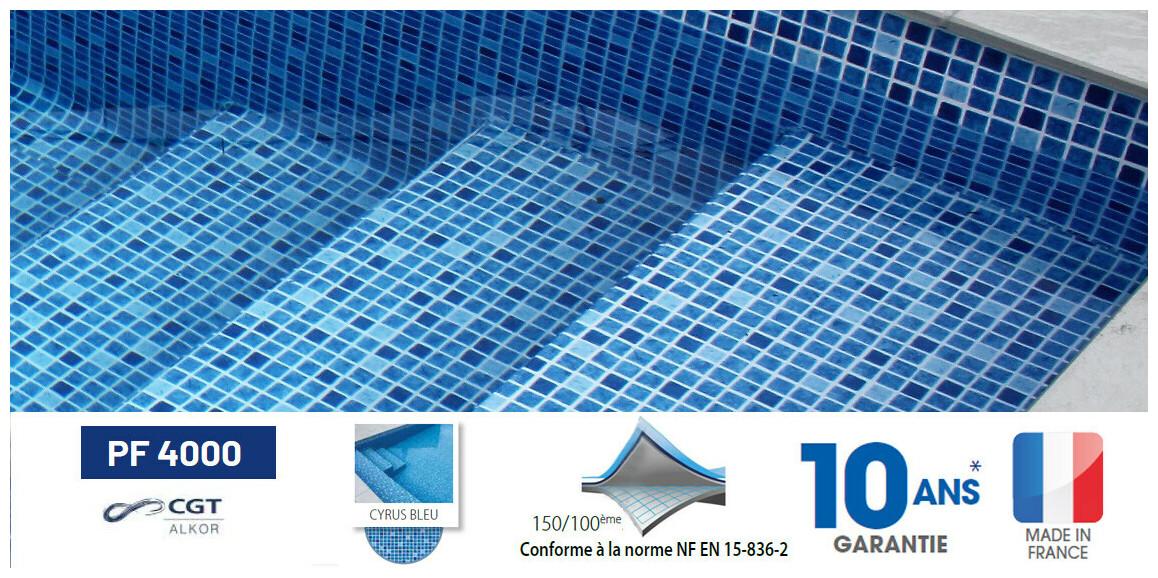 liner pvc armé 150/100 ème imprimé mosaïque Cyrus Bleu pf4000 astral