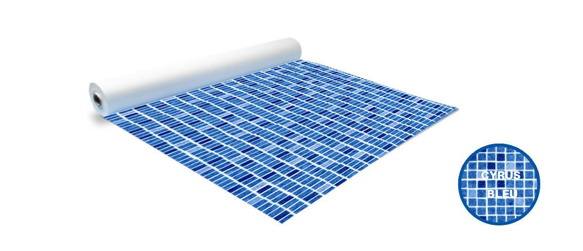 rouleau pvc armé imprimé mosaïque 150/100 ème pf4000 coloris cyrus bleu