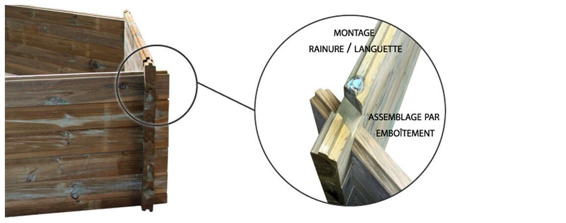installation par emboîtement languette rainure de la piscine bois woodfirst original octogonale allongée 735x410x138 cm