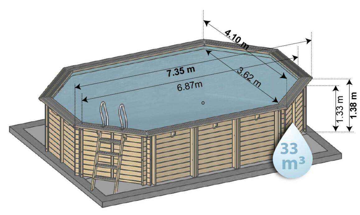 dimensions de la piscine bois octogonale allongée 735 x 410 x 138 cm