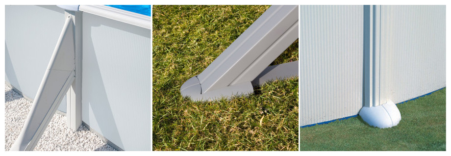 Kit piscine gr atlantis structure acier blanc tout inclus for Montage piscine hors sol acier