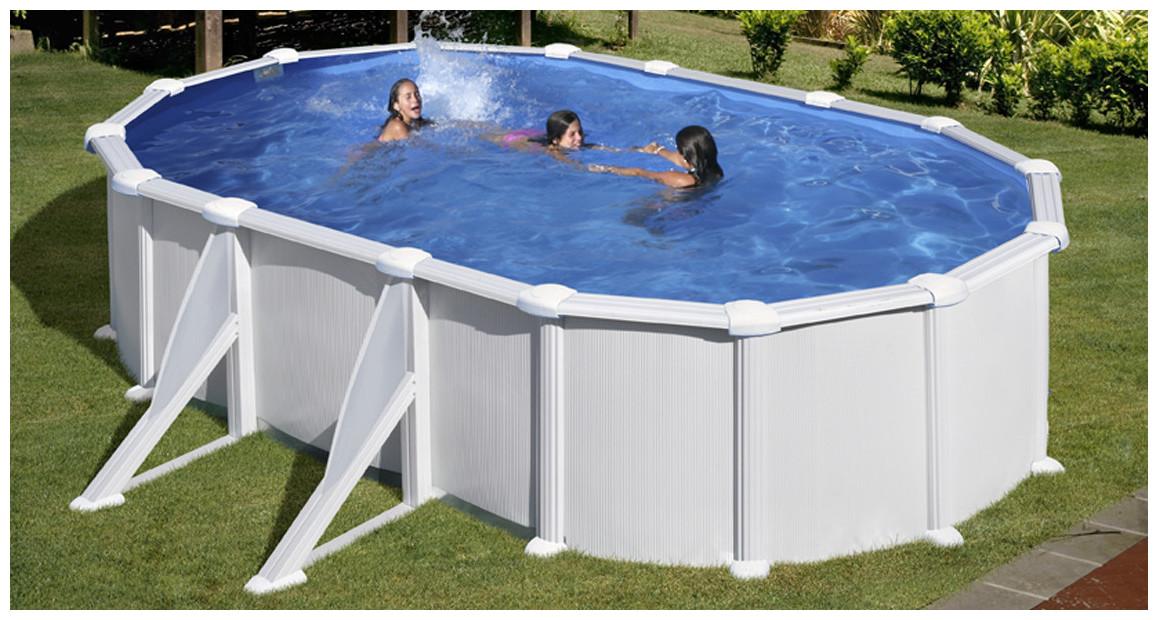 piscine hors sol acier blanc gré atlantis en situation