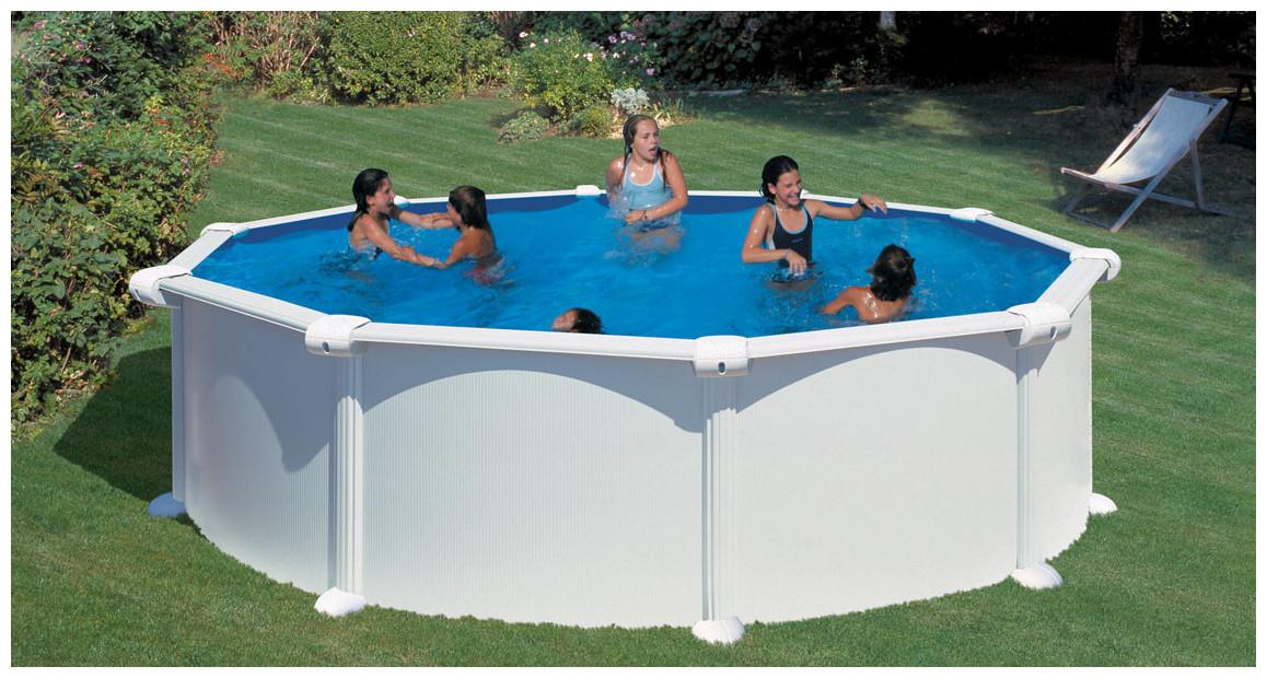 piscine hors sol acier blanc ronde gré atlantis